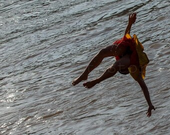 Monk Jumping to Water, Laos Photography, Luang Phrabang, Buddhism, Asian Art, Flying Monk, Travel Photography, Fine Art Photography Print