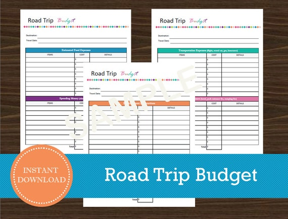 road trip budget and expense tracker printable and editable etsy