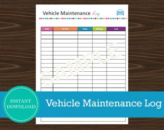 Vehicle Maintenance Log - Organizer - Road Trip Planner - Printable and Editable - INSTANT PDF DOWNLOAD - Home Binder