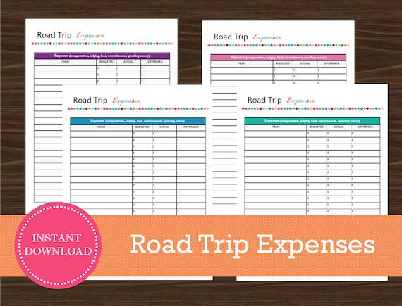 road trip expense tracking sheet travel planner vacation etsy