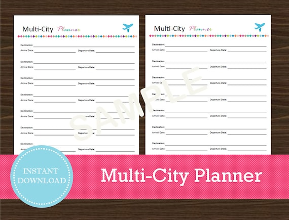 multi city travel planner travel organizer vacation etsy