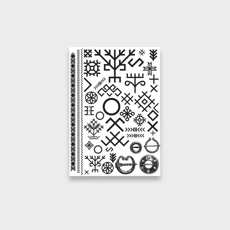 Set Of Latvian Ethnographic Temporary Tattoos Etsy