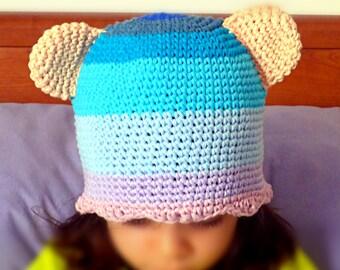 Berretto gatto orso uncinetto. Cappello con orecchie bimba. Cuffia  copricapo Cappellino a maglia in cotone. Moda Bimbi costume Carnevale 3686ee81531b