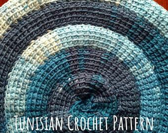 Crochet PATTERN Pillow Cover Tunisian stitch Spiral. OOAK Home Decor. Blue Shades gradient self-striping Yarn. DIY Tutorial in English. Pdf