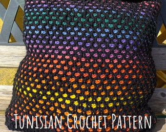 Tunisian Crochet PATTERN for Market Bag in Honeycomb Stitch. Stained Glass Moroccan Tiles Interlocking Crochet Style. Worked in the round.
