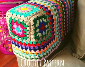 Crochet PATTERN Armrest Cover. Square Sofa Recliner Granny Square Protection. Instructions to create Couch Caps. Easy Photo Tutorial Guide