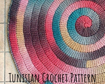 Tunisian Crochet PATTERN for Spiral Rug. Whirl spiraling Carpet worked in the round. Swirl self-striping Yarn Project. Written Instructions
