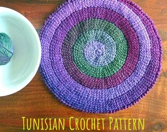 Tunisian Crochet PATTERN round Centerpiece Spiral. Table Set Decor. DIY Tutorial Placemat. Home Design Rug. Written Instructions in English