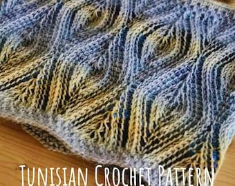 PATTERN Tunisian Crochet Cowl. Leafy Brioche like Design. Afghan crochet Impressive Scarf. Easy Instructions with Video Tutorials. Pdf File