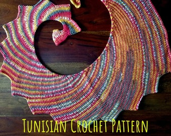 Crochet PATTERN Tunisian Dragon Tail Scarf. Asymmetrical Whirl Wings Shawl. Diy Stormborn Wrap Clothing, easy level, pdf tutorial download