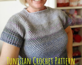 Sweater PATTERN in Tunisian Crochet Honeycomb + Rib Stitch in the round. Ombre Effect Jumper Tutorial Afghan Technique. DIY Guide Clothing.