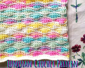 PATTERN Tunisian Crochet Cowl in Wave Stitch. Video Tutorial Scarf Afghan Basics. Beginner-friendly Instructions How-to Guide. Ombre degrade
