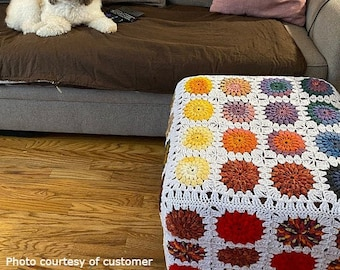 CUSTOM Crochet Ottoman Cover. Granny Square Chair Slipcover. Bed Pouf Foot Rest Table Cap. Flower colorful Motif colorway. Coffee Tray Bench