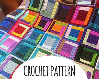 PATTERN Log Cabin Blanket Throw. Crochet easy level Tutorial. Diy Gift Idea, how to Guide. File Download. Queen size Afghan. Scraps Yarn.