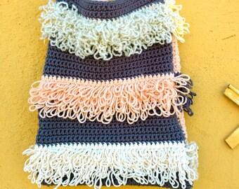 Borsa da spalla all uncinetto in cotone e punto pelliccia in tenui colori  pastello 5efc22257c95