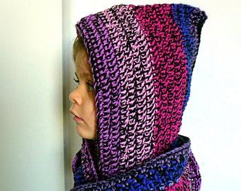 CUSTOM Crochet purple Scoodie Kidswear. Infinity Scarf with Hood. Kids hooded Cowl. Woolen knitted medieval Hats. Girls Wool Hoodie. Chunky