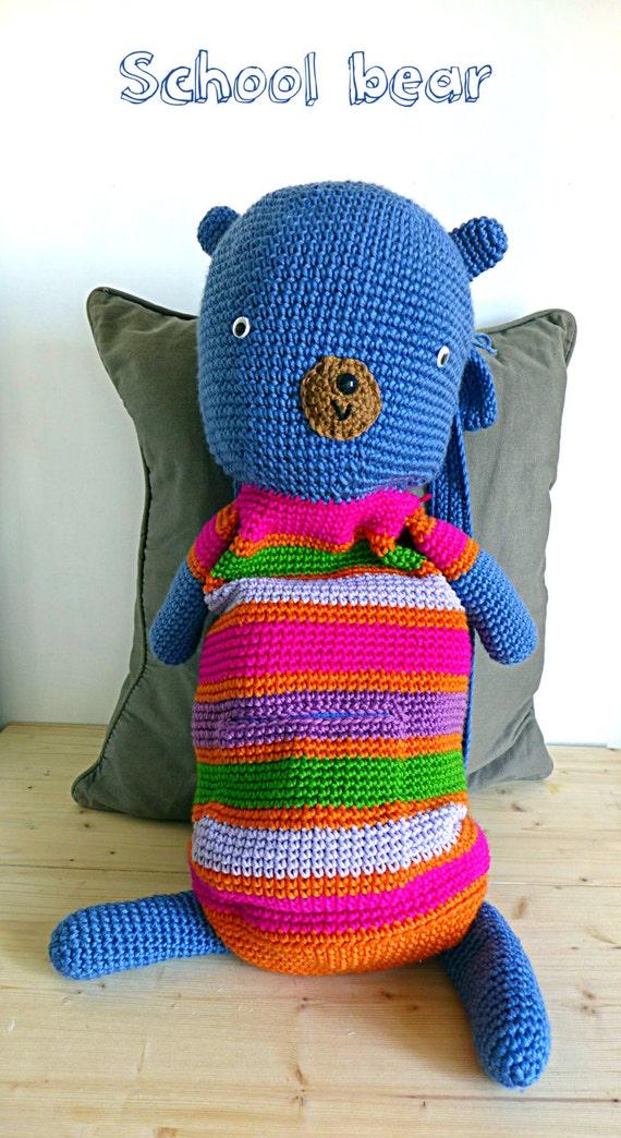Häkeln Sie Rucksack Teddybär Schultasche Für Kinder Große Etsy