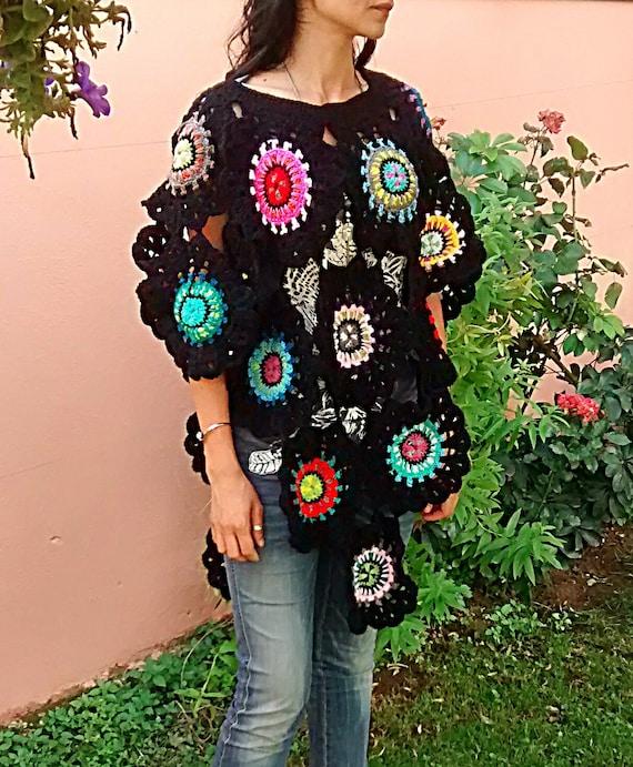 Hippie Häkeln Poncho Pullover Handgemachte Bunten Boho Stil Etsy