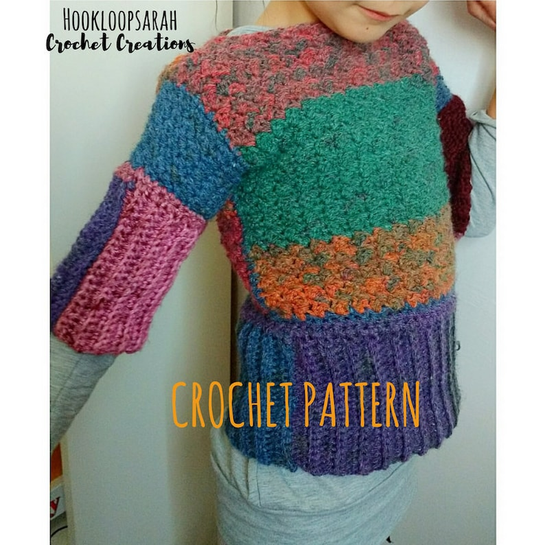 90f536bf5 Crochet PATTERN Clothing Sweater. Baby Girl Adult colorful
