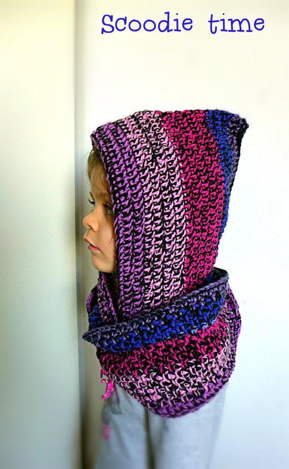 Benutzerdefinierte Häkeln Lila Scoodie Kidswear Schal Mit Etsy