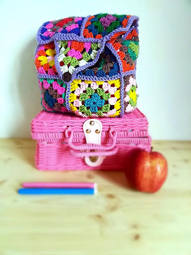 Zainetto Scuola A Uncinetto Con Piastrelle Colorate Granny Etsy