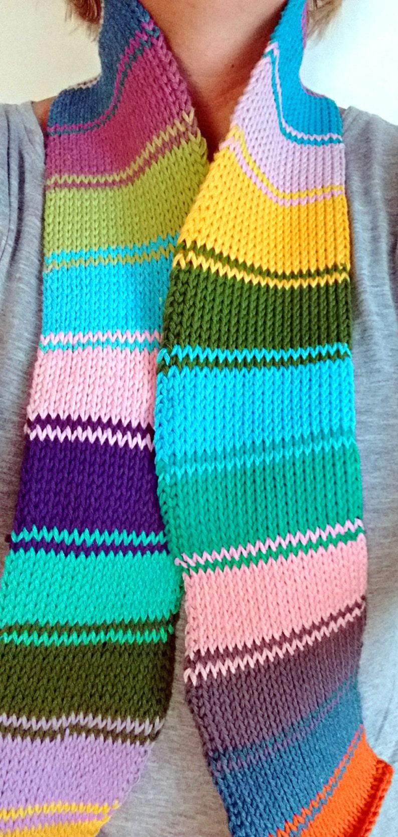 Tunisian Crochet Scarf Geometric Pattern For Women In Cotton Etsy