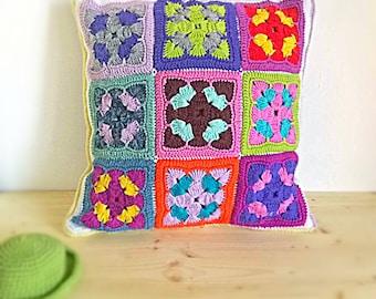 Backrest Bed Support Pillow crochet Cover, Klimt Kandinsky artistic geometric Case, squishy handmade colourful rainbow Cushion, Maternity