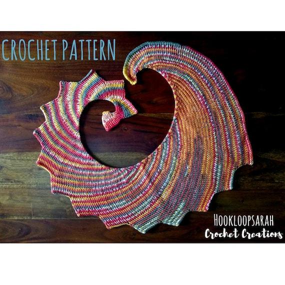 imballaggio forte selezione premium raccolto SCHEMA scialle uncinetto tunisino in cotone, tutorial per coprispalle  originale a coda di drago, file digitale pdf da scaricare, facile