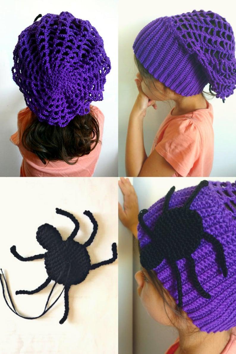 Berretto Halloween viola in lana a uncinetto adulti bimbi con  0527a34c1f89