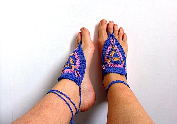 Fußkettchen nackte Zigeunerin. Häkeln Sie barfuß Sandalen | Etsy