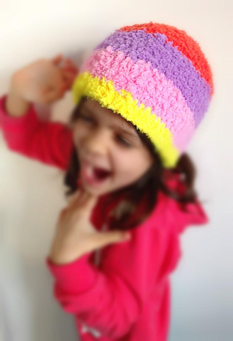 Custom Crochet Kids Hat Girls Colorful Toque Cute Fluffy Etsy