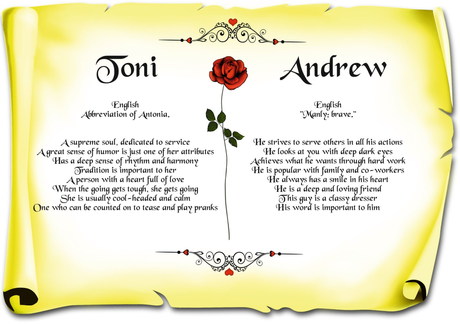 Double First Name Meaning Love Scrolls Various Colours Emailed