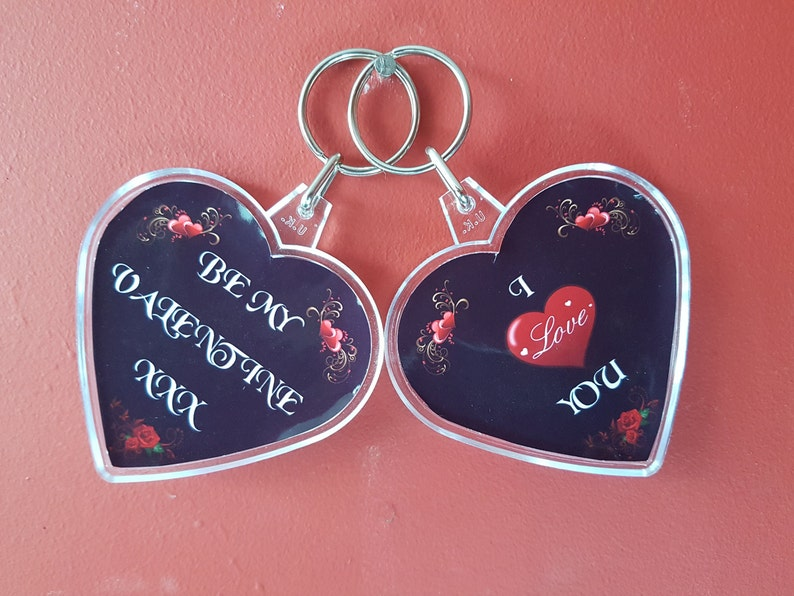 06c0bbe3d74e0 Heart Shaped Acrylic Keyring, Be My Valentine, I Love You, Double Sided  Keyring, Various Colours