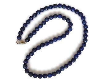 Lapis lazuli necklace, natural lapis lazuli, dark blue, round, faceted, 6 mm