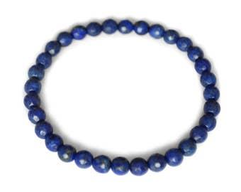 Lapis lazuli bracelet, natural, deep blue, round, faceted, 6 mm