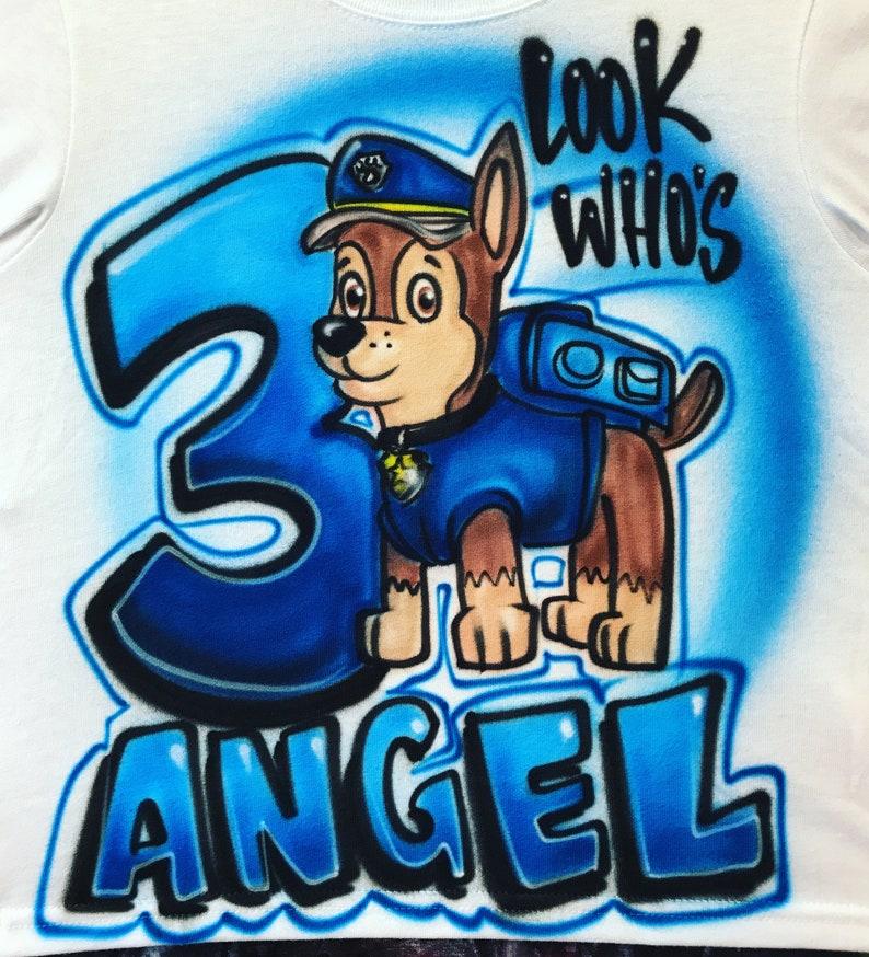 a7c94c98a5954 Airbrush Paw Patrol Custom T-Shirt | Etsy