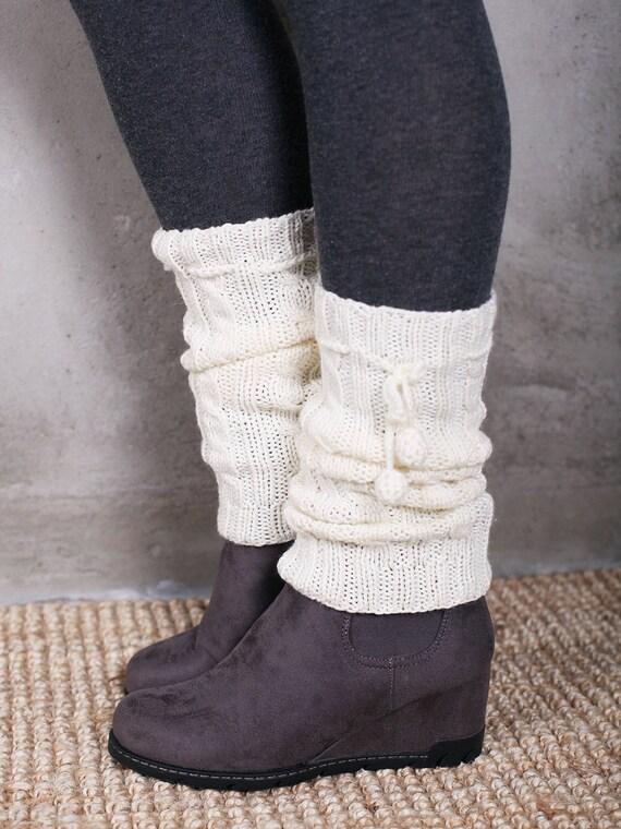 Beaded Crochet Leggings Women Leg Warmer Gifts Knitted Socks Winter Boot Toppers