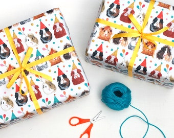 2 Sheets of Party Guinea Pig Wrapping Paper