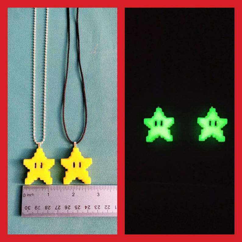 Glow in the dark 8-Bit Mario Star Necklace