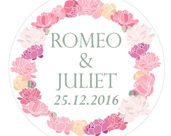 Personalised customised wedding stickers round floral roses romantic