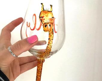 Hand Painted Giraffe Glass