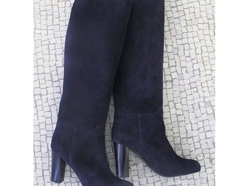 760a379154eb Navy blue suede leather knee high boots women blue high
