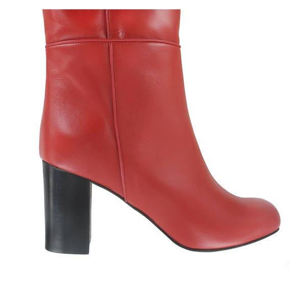 bottes cuir rouge talon