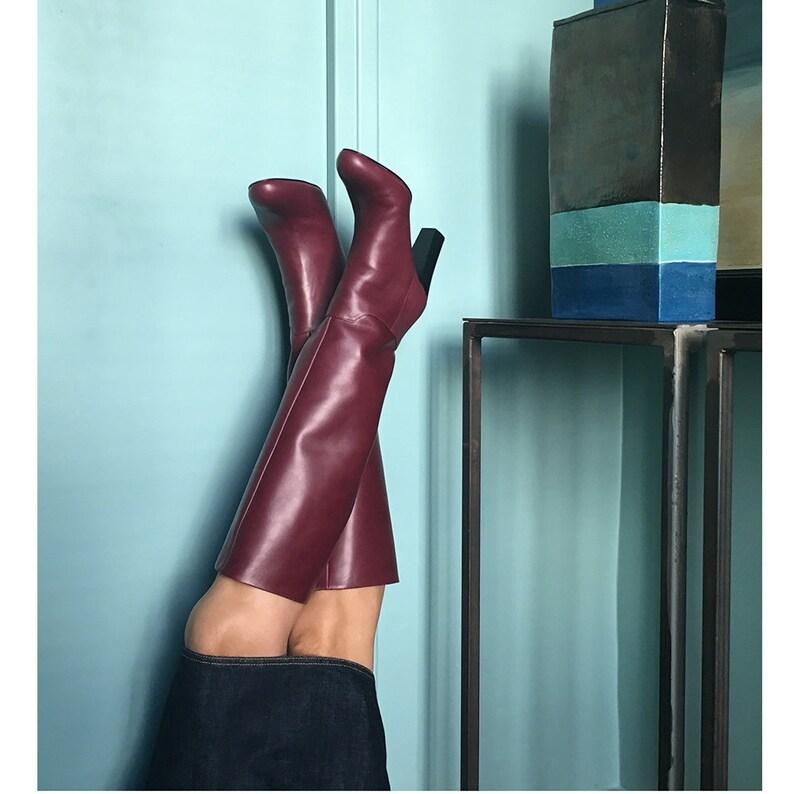 Botte cuir bordeaux Bottes femme Boots bordeaux bottes  b1654ce1940