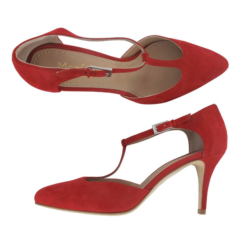 b4be55fea6d8f Red suede leather pointy t strap pump, Red leather shoes, Women pointy  pumps, Women pointy shoes, Red Leather shoes women, Lafayette