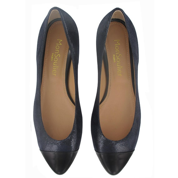 leather pointed Designed toe leather shoes flats Blue Handmade in Italy Navy Blue Navy Pointy flats Blue Paris Jules in flats YIqXgO