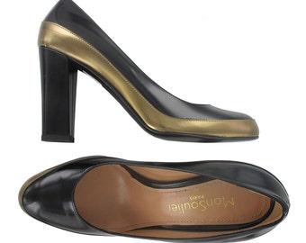 Bicolore bronze and black leather pump, Italy shoes, Gold leather pump , Black leather pump, Paris shoes, Handmade Italy, Jadi