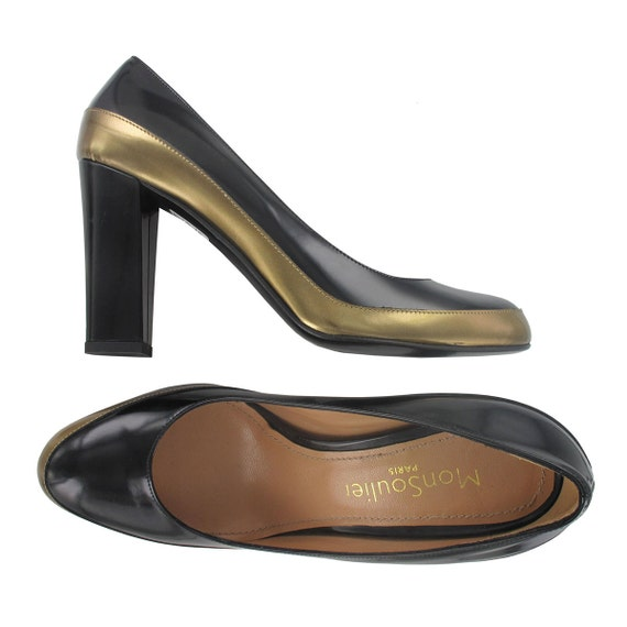 Escarpin bronze Chaussures et cuir Escarpin bicolore Jadi or Chaussures Escarpin Italie talon noir noir SqFznUwW1