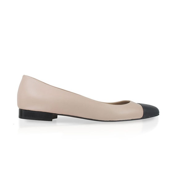 Blush leather pointy flats pink nude