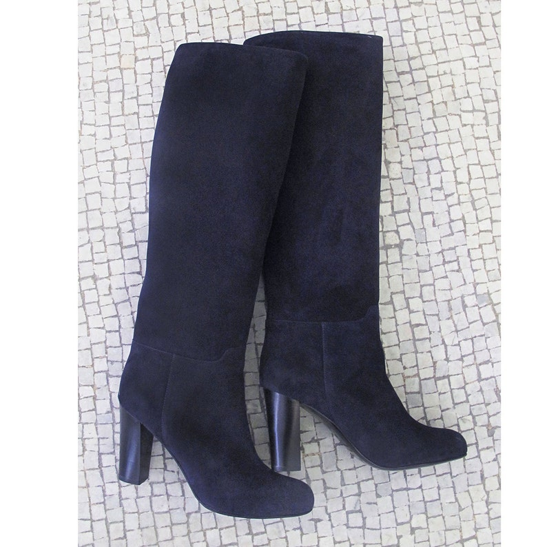 0a4b8116d3089 Navy blue leather knee high boots Blue high bootss Blue | Etsy